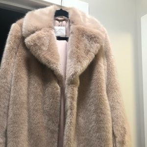 Zara Blush Pink Faux Fur Lapel Coat